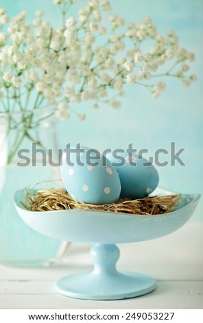easter eggs and flowers decoration - stock photo