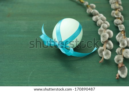easter eggs and pussy willows - stock photo