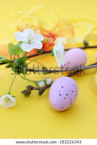 easter eggs and spring branch  on yellow background - stock photo