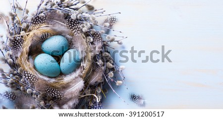 Easter eggs and spring flowers on wood background   - stock photo