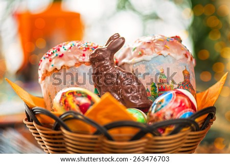 Easter eggs cake and bunny shape chocolate - stock photo