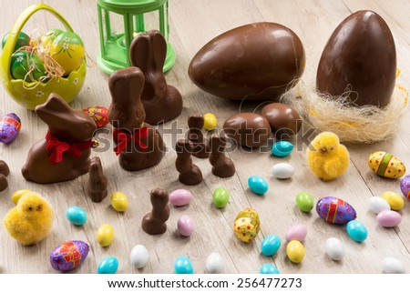 easter eggs chocolate - stock photo