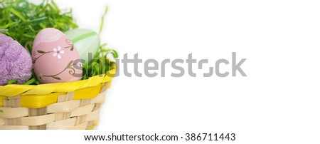 Easter eggs greeting card banner background with copy space - stock photo