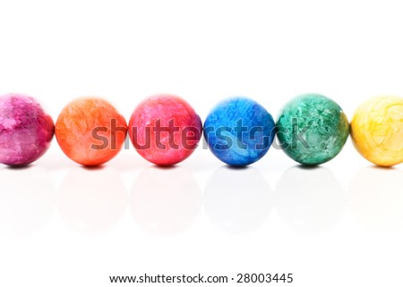easter eggs in a row with reflection - stock photo