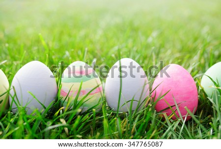 Easter eggs in green grass, easter concept - stock photo