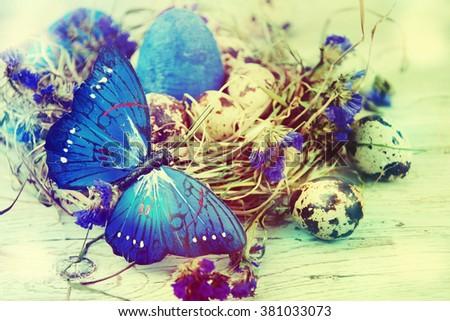 Easter eggs in nest. - stock photo