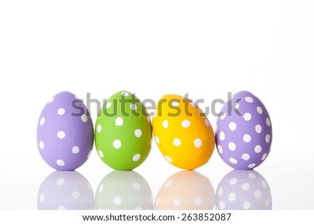easter eggs isolated on white. studio shot - stock photo