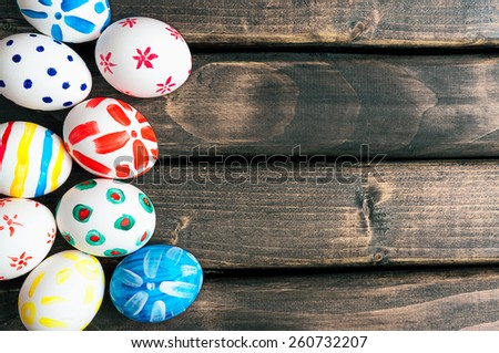 Easter eggs lying in a basket.Easter Egg.Easter ideas.Happy easter.Vintage processing. - stock photo
