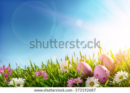Easter eggs on green grass at sunny day - stock photo
