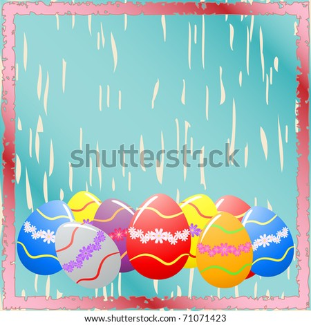 Easter eggs on the blue background - stock photo