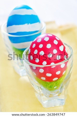 easter eggs on the teble, color eggs - stock photo