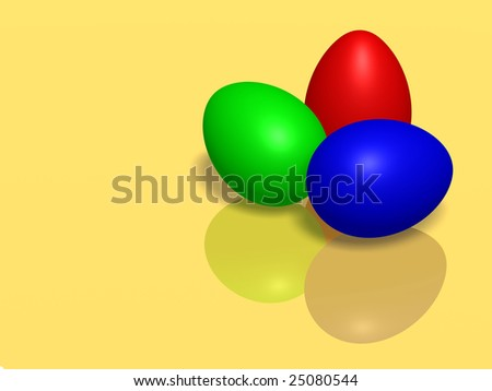 Easter eggs on yellow background - stock photo