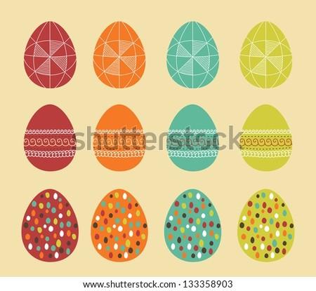 Easter eggs retro set. Raster version - stock photo