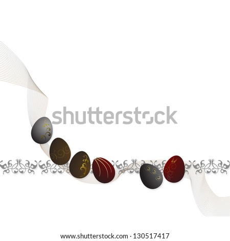 Easter eggs with gold ornaments, and a space for your text - stock photo