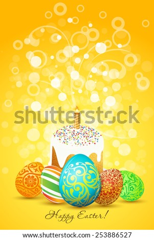 Easter Eggs with ornament decoration and sparkles on orange background - stock photo