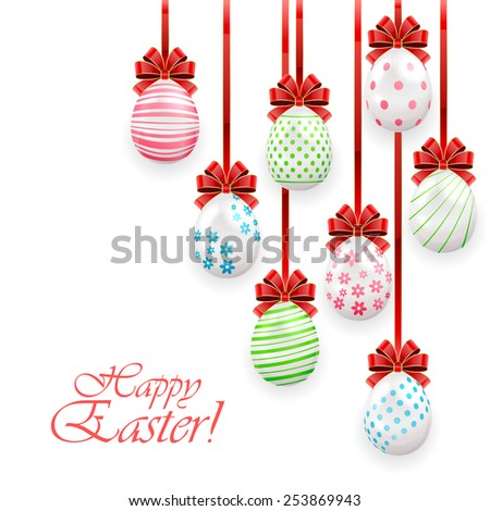 Easter eggs with red bow on white background, illustration. - stock photo