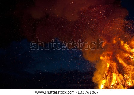 easter fire with smoke - stock photo