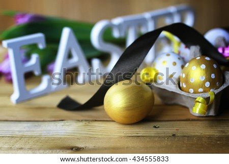 Easter flower eggs wooden background - stock photo