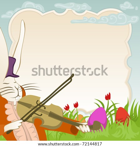 easter frame with violinist bunny for vector version see image no. 71886757 - stock photo