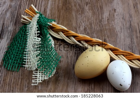 Easter - fresh eggs with czech whip on wooden desk / background - stock photo