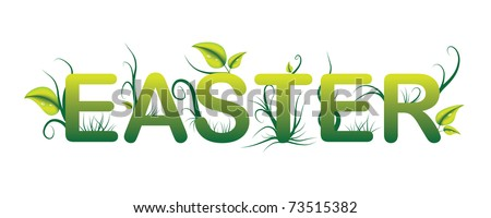 Easter green vector logo with grass and leaves - raster version of vector ID 72502294 - stock photo