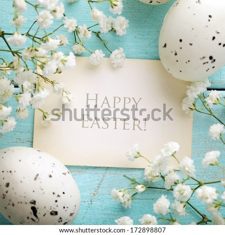 Easter greeting card, frame background - stock photo