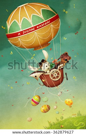 Easter greeting card with  balloon, eggs and rabbit and bear.  - stock photo