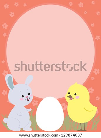 Easter greeting card with Bunny and Chicken - stock photo