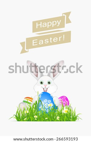 Easter Holiday Card with Egg and Rabbit - stock photo