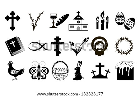 Easter Icons. Black and White. - stock photo