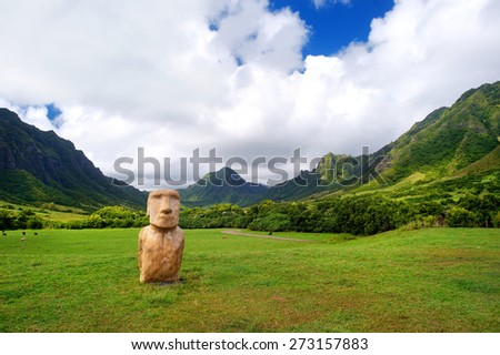 Easter island head on Kualoa Ranch, Oahu, Hawaii - stock photo