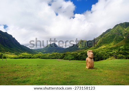 Easter island head on Kualoa Ranch, Oahu, Hawaii - stock photo