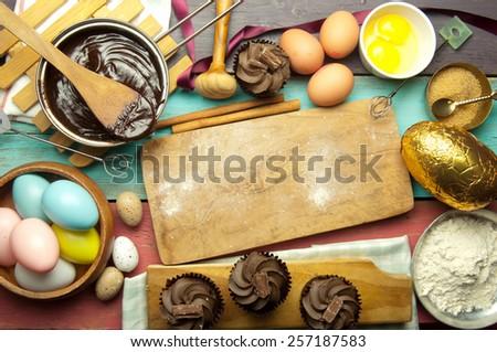 Easter kitchen baking backdrop - stock photo