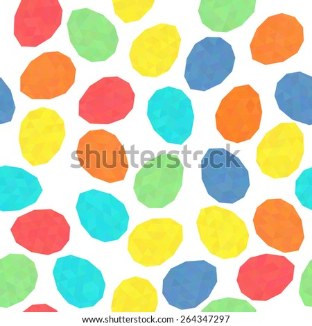 Easter pattern decoration. Easter eggs with low polygonal texture. Seamless. Stylized background with bright colored eggs. Seamless holiday backdrop. Triangle texture. - stock photo