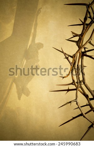 Easter photo background illustration with Crown of Thorns on Parchment Paper with Jesus Christ on the Cross faded into the background. - stock photo