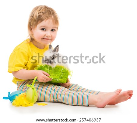 Easter photo. Cute little girl with a rabbit isolated on white background - stock photo