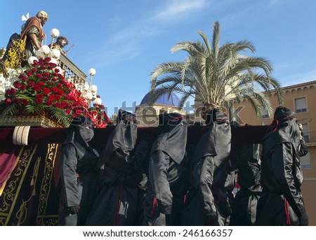 Easter procession in Elche, Alicante, Valencia. Spain. Horizontal - stock photo
