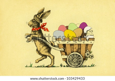 Easter Rabbit with colored eggs - stock photo