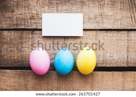 Easter rustic eggs photo composition illustration home village blank with place for your text. - stock photo
