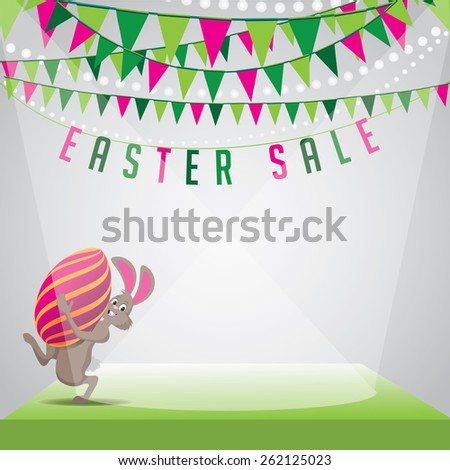 Easter sale bunny egg and bunting background royalty free stock illustration for greeting card, ad, promotion, poster, flier, blog, article, social media, marketing - stock photo