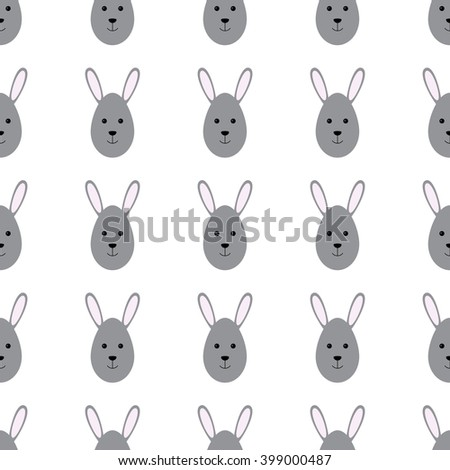 Easter seamless background with repeating bunny head in the shape of egg. For wallpaper, wrapping paper, textile decoration, invitations, greeting cards, postcards - stock photo