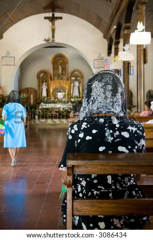 Easter service in the village of Nahuizalco in El Salvador - stock photo