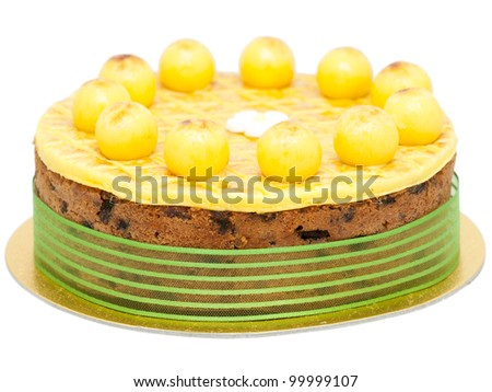 Easter simnel cake isolated on white - stock photo