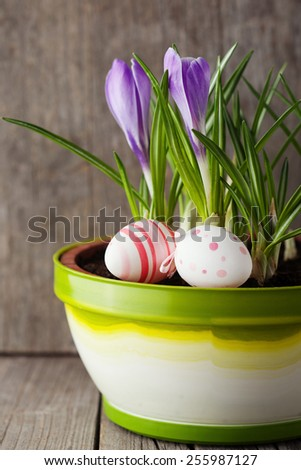 Easter still life of decorative eggs and spring flowers on old wooden background, selective focus - stock photo