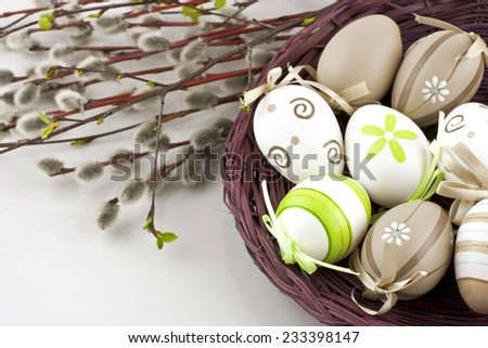 Easter still life with colorful eggs  - stock photo