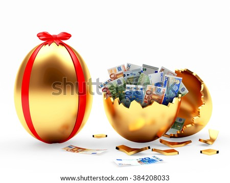 Easter surprise. Golden Easter egg decorated red ribbon and broken golden egg with euro bills isolated on white background - stock photo