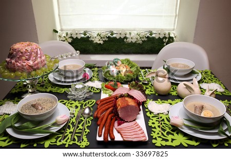 Easter table - stock photo