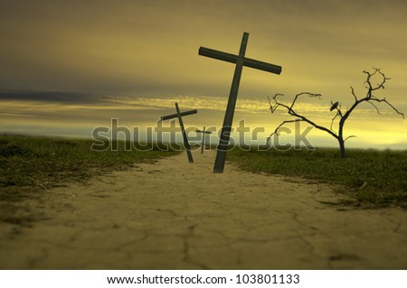 easter three crosses abstract on the road - stock photo