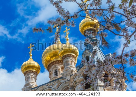 Easter view of Mary Magdalene Convent with Almond Flowers, Jerusalem, Israel - stock photo