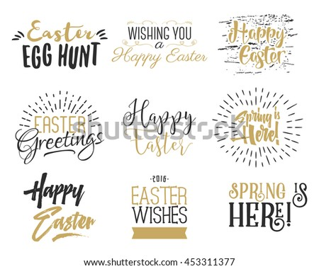 Easter wishes overlays, lettering labels design set. Retro holiday easter badges. Hand drawn emblem with ribbon. Isolated. Religious holiday sign or logo. Easter photo overlays design for web, print. - stock photo
